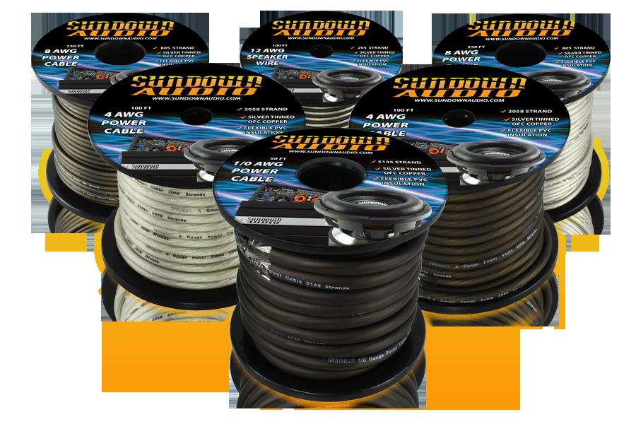 Sundown Audio 100 Ft 4 AWG Power Cable 2058 Strands Black